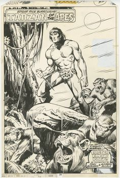 Tarzan of the Apes #12 - original pin-up art page 26 (Marvel, 1978)  John Buscema and Alfredo Alcala