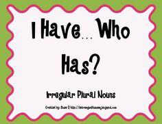 Freebie! I have...who has? activity using irregular plural nouns