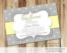 polkadot baby invitation design