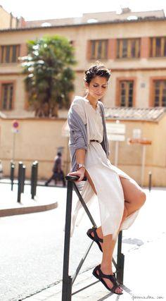 belted dress, cardigan, sandals / Garance Doré