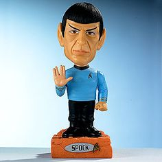 """Talking Spock Bobble-Head: """"Fascinating!"""" """"You are, after all, essentially irrational."""" """"Live long and prosper."""" in Leonard Nimoy's voice.  On sale $14.99."""