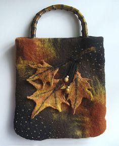 fall bag, fall leaves, autumn leaves, beauti felt, felt bag, felted purses, felt purs, felt handbag, felt fall