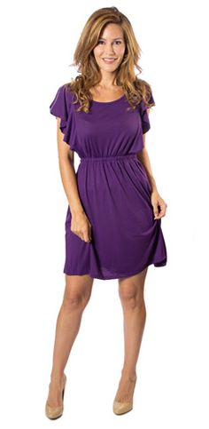 Purple Dress with Flutter Sleeves