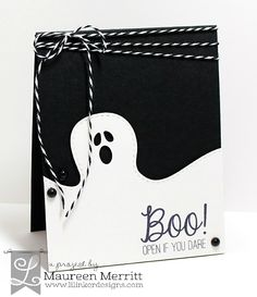 Maureen Merritt featuring the Lil' Inker Designs newly released Ghost Border Die Set and a sentiment from Classic Halloween.