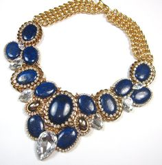 Statement necklace dark blue sapphire midnight blue and gold beaded swarovski embellished bib necklace statement jewelry from Ezzaexclusive