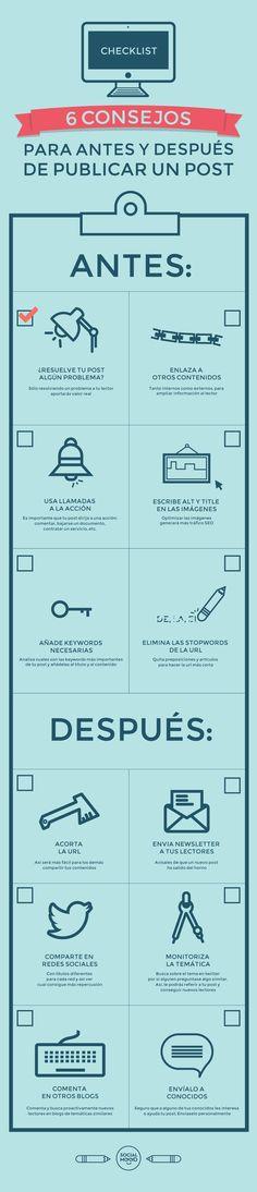 Checklist para antes y después de publicar un post. #infografia