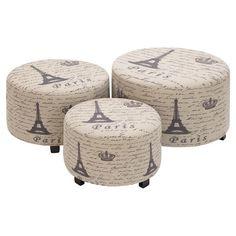 3-Piece Eiffel Leather Ottoman Set at Joss & Main
