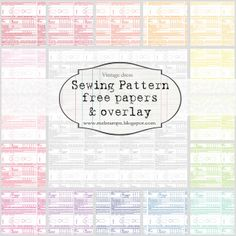 Vintage Sewing Patterns in 4 sizes (free papers & overlays) -- 28 shades -- #free #printable # digital #paper