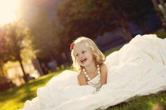 Lil girl in mamas wedding dress!