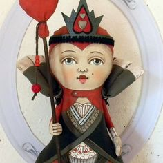 The Red Queen of Hearts-- Contemporary Folk Art Doll Sculpture - Hand Painted Original by Cart Before The Horse #Etsy