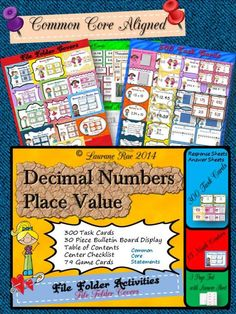 DECIMAL NUMBERS 300 TASK CARDS, 3 GAMES, BULLETIN BOARD DISPLAY COMMON CORE from TeachToTell on TeachersNotebook.com -  (170 pages)  - This 170 page pack has everything that you and I could possibly think of to facilitate students to acquire conceptual knowledge of decimal numbers.