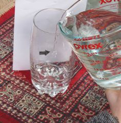 Turning the arrow experiment! Pinner wrote: This is so cool! I did it with my class today, an they loved it just as much as I did! The title of our Science Experiment was Magic Water! Draw an arrow place the paper behind a glass then fill the glass with water and watch the arrow change directions! We talked about how water bends light etc!