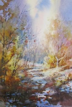 Watercolor painting demonstration on painting winter scene by Roland Lee