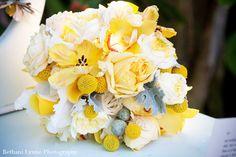 vintage white yellow wedding bouquet
