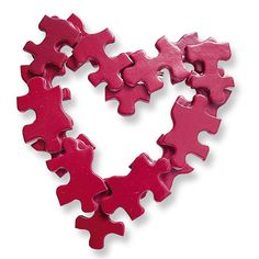 hearts valentine crafts - painted puzzle pieces