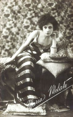 Italian actress Maria Melato (16 October 1885 - 24 August 1950), famous for her work in stage, radio and early silents (now, sadly, all lost). Died from a fall as she boarded a train, en route to perform in a radio of adaptation of a Somerset Maugham work.