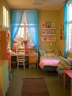 fun bright bedroom