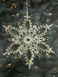 Thread Crochet Beaded Snowflakes by ettajane on Etsy