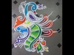 how to make rangoli with peacock - YouTube