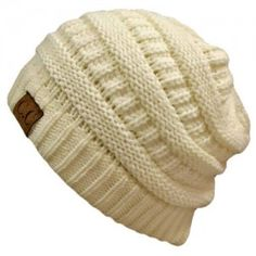 Winter White Ivory Thick Slouchy Knit Oversized Beanie Cap Hat, $13.49