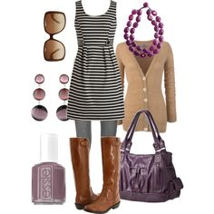 Love the neutrals and the dash of purple. Especially love the necklace.