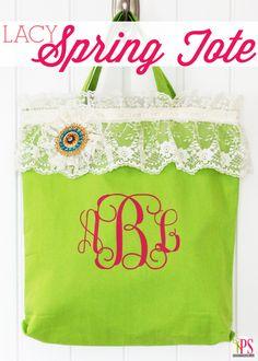 Lace-Embellished Spring Tote