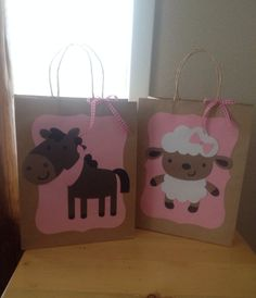 Set of 6 large party favor loot bags pink girly by pinktreepapers, $18.00