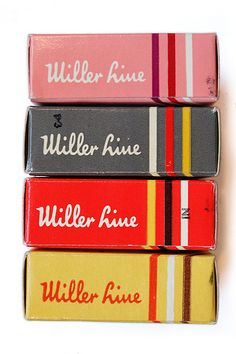 Vintage Miller Line typewriter ribbon boxes. #branding #packagedesign #logo #graphicdesign #design #productdesign #industrialdesign #ID