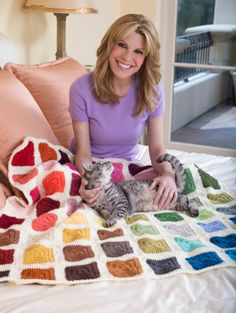 This Colorwheel Afghan is made with our newest Vanna collection - Vanna's Palettes.  It is also cat approved.