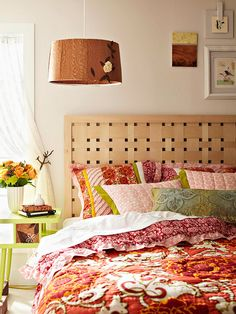 Add a DIY touch to your bed with a handmade woven veneer headboard.