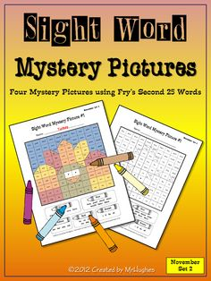 **NOVEMBER SET #2 NOW AVAILABLE**   Each of the four pictures includes the second 25 words from Fry's Instant Word List. These pages make great center activities and/or homework assignments. ($)