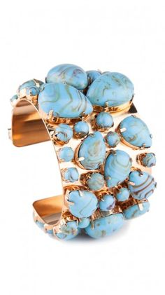 Gigi Cuff: large gold statment cuff with large Turquoise stones