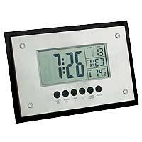 [GP3100 ]  	Jumbo Desk and Wall Clock    Sleek and edgy! This silver and black, large LCD display clock can be mounted on the wall or stand on a desk. The fantastic features include an alarm clock, snooze, calendar and thermometer. 2 AAA batteries included.    Product code: GP3100  Qty:	50-99	100-249	250-499	500+  ea.	$14.95	$13.95	$12.95