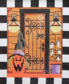 Trina Laube SPOOKY HALLOWEEN Decorated DOOR Artwork By Rebecca Wood - Counted Cross Stitch Pattern Chart - fam. $4.75, via Etsy.