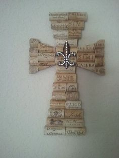 Wine Cork Cross with Le Fleur. $38.00, via Etsy.