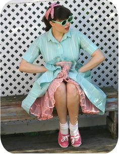 "Pink tennis ""Keds"" style shoes with white folded down socks = cuteness!!! #1950s #vintage"