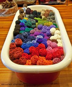 Need more space for your yarn collection? How about a tub. ;)