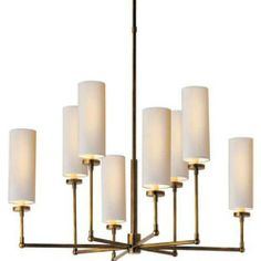 Visual Comfort TOB5016HAB-NP Thomas O'Brien Large Ziyi 8 Light Chandelier in Hand Rubbed Antique Brass with Natural Paper Shades