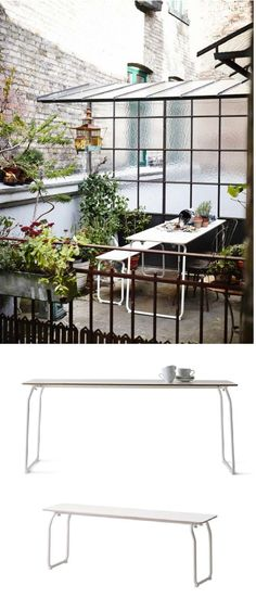 """IKEA PS folding table and bench. """"I was inspired by the functionality of the furniture in German beer gardens. The bench and table are designed for domestic environments, outdoors and indoors. Versatile everyday furniture – easy to store and move around – rather than a temporary solution that is hidden away most of the time. By using a construction with bent tubes and a durable laminated surface we created a sophisticated yet simple solution for everyday use."""" Designer: Mathias Hahn"""
