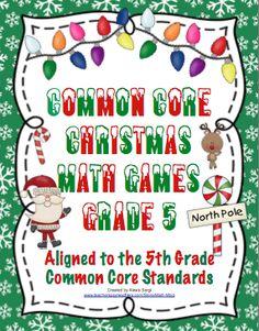 Common Core Christmas Math Games 5th Grade $