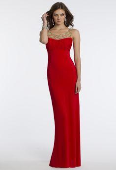 Camille La Vie Jersey Illusion Neckline Prom Dress in Red