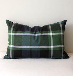 Modern Plaid Designer Pillow Cover lumbar 12x16 by WhitlockandCo, $36.00