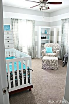 grey, white and teal elephant nursery might be my most favorite nursery I've seen by absolute worth