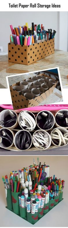 Crafts and DIY Community: Toilet Paper Roll Storage Ideas | Crafts and DIY Community I dont know about markers and pencils, but this is a really cute and cheap make up brush holders.
