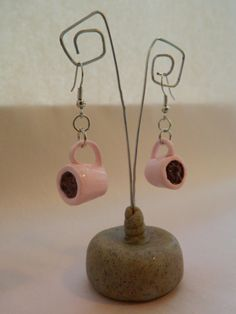 Classic handmade Clay Glazed Pink Coffee Cup Earrings