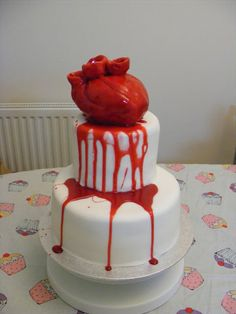 AWESOME bloody heart cake.