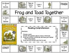 comprehens game, literaci, book, board games, la cart, educ, frogs, toad week, first grade
