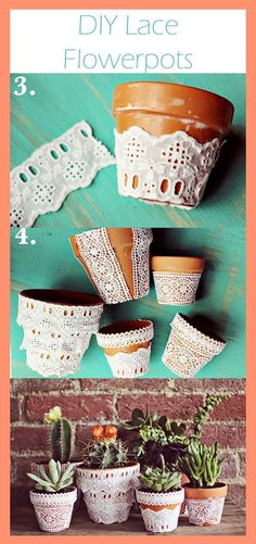 lace flowerpot, lace flowers, craft, diy lace, carrot