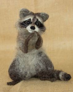 Maggie the Raccoon: Needle felted animal sculpture by The Woolen Wagon