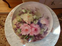 george leykauf china painter | Limoges France Antique Hand Painted Porcelain Plaque Tray Roses from ...